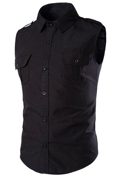 Epaulet and Double Pocket Embellished Slimming Shirt Collar Men's Sleeveless Shirt - BLACK L