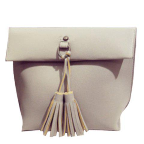 Trendy Tassels and PU Leather Design Crossbody Bag For Women - GRAY