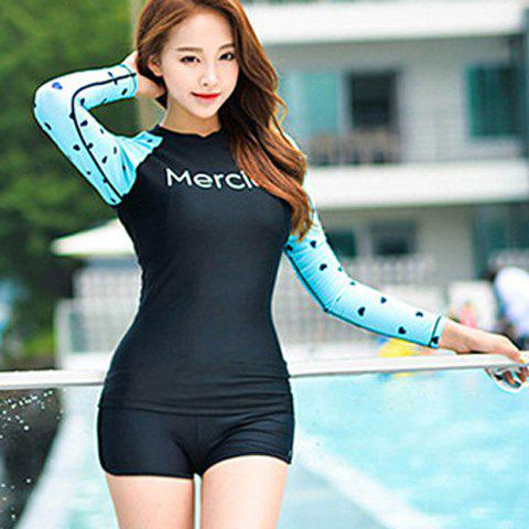 Sweet Letter Print Long Sleeves  Two-Piece Swimsuit For Women - BLUE/BLACK M