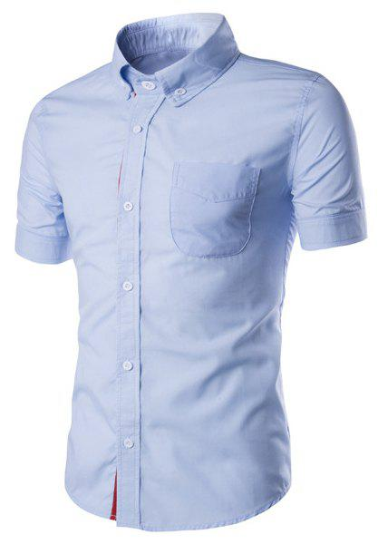 Simple Braid Spliced One Pocket Slimming Shirt Collar Short Sleeves Men's Button-Down Shirt - LIGHT BLUE 2XL