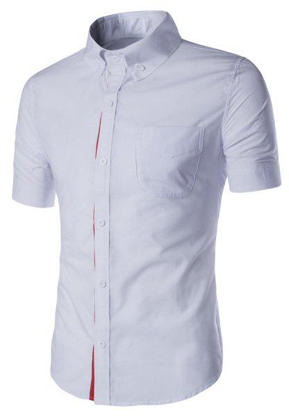 Simple Braid Spliced One Pocket Slimming Shirt Collar Short Sleeves Men's Button-Down Shirt - WHITE 2XL