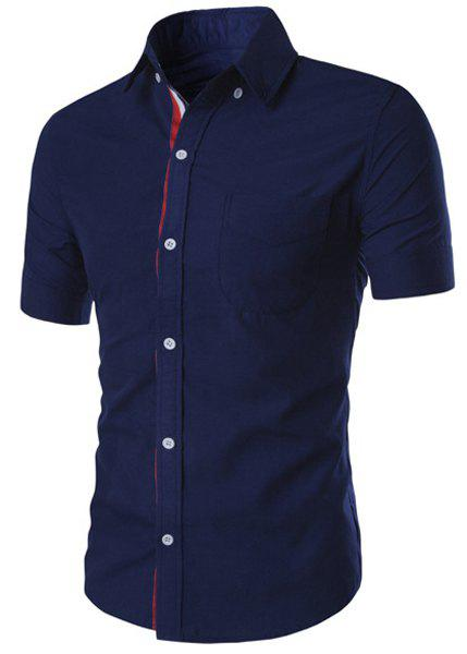 Simple Braid Spliced One Pocket Slimming Shirt Collar Short Sleeves Men's Button-Down Shirt - DEEP BLUE XL