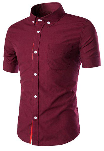Simple Braid Spliced One Pocket Slimming Shirt Collar Short Sleeves Men's Button-Down Shirt - WINE RED M