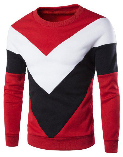 Casual Color Lump Splicing Triangle Pattern Round Neck Long Sleeves Men's Sweatshirt - RED M