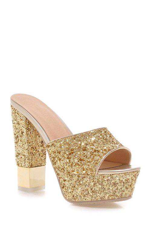 Stylish Sequins and Chunky Heel Design Slippers For Women