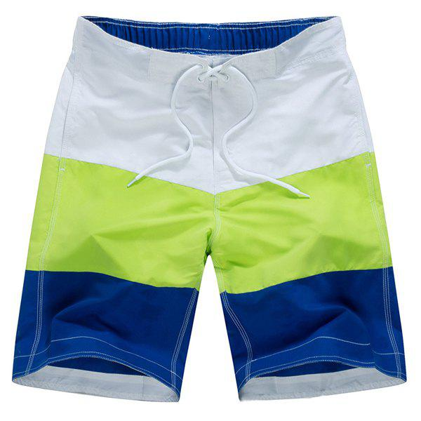 Straight Leg Color Block Splicing Drawstring Men's Board Shorts - WHITE L