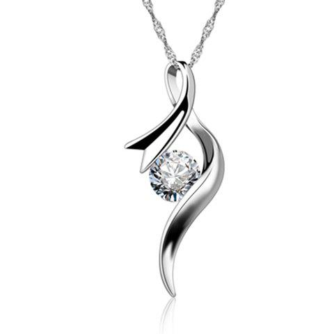 Hollow Out Rhinestone Alloy Necklace - SILVER