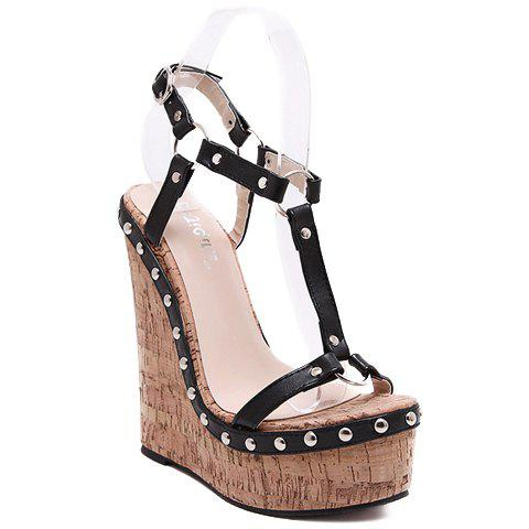 Sweet T-Strap and Wedge Design Sandals For Women - BLACK 38