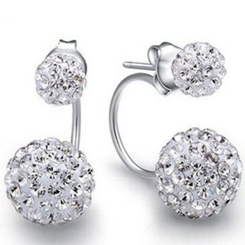 Pair of Rhinestoned Ball Cartilage Earrings - SILVER