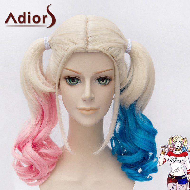 Fashion Pink Blue Splicing Synthetic Fluffy Wavy Medium With Bunches Harley Quinn Cosplay Wig - COLORMIX