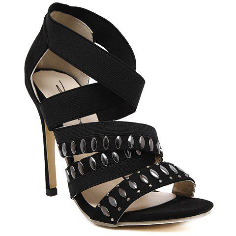 Stylish Elastic Band and Black Design Sandals For Women