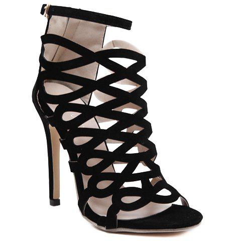 Trendy Hollow Out and Zip Design Sandals For Women - BLACK 39