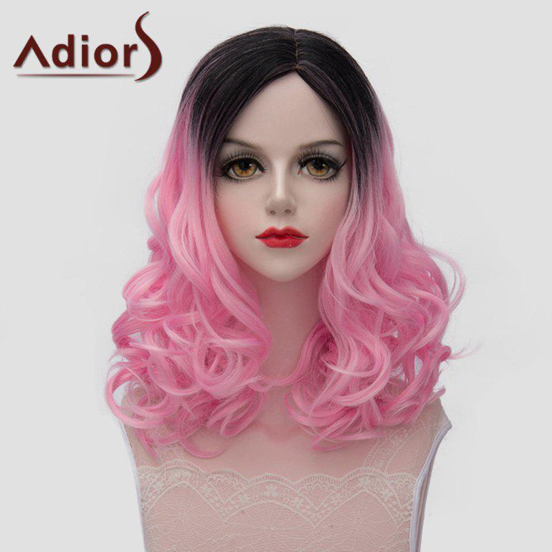 Lolita Style Medium Fluffy Wavy Vogue Black Pink Gradient Women's Synthetic Wig - BLACK/PINK