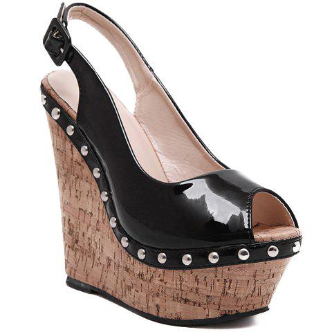 Fashion Wedge Heel and Patent Leather Design Sandals For Women - BLACK 35