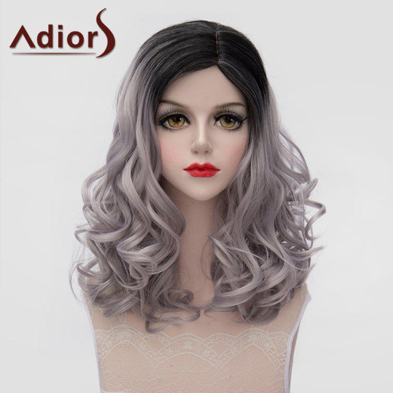Fashion Black Gray Gradient Shaggy Wave Synthetic Lolita Style Medium Wig For Women - OMBRE