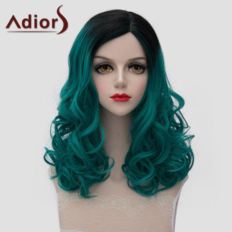 Lolita Black Ombre Green Stylish Medium Fluffy Wavy Synthetic Universal Wig For Women stunning medium black purple gradient lolita fluffy wavy synthetic universal wig for women