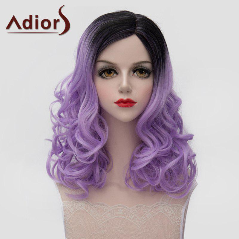 Vogue Bouffant Wavy Synthetic Lolita Medium Black Ombre Light Purple Women's Wig - BLACK/PURPLE