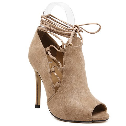Stylish Peep Toe and Tie Up Design Pumps For Women - KHAKI 35