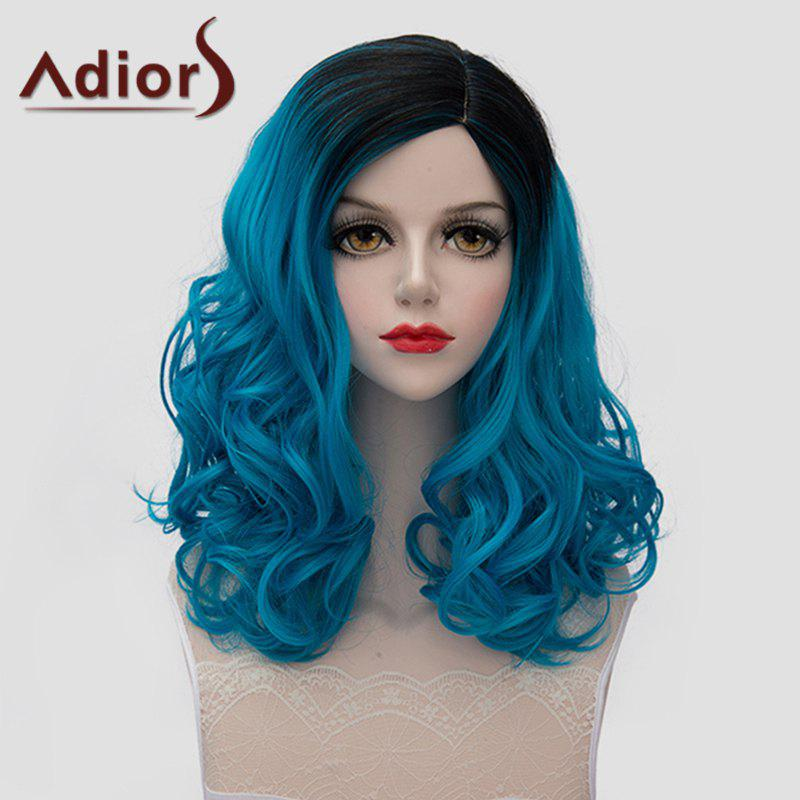 Trendy Bouffant Wavy Synthetic Lolita Medium Black Blue Gradient Universal Wig For Women - OMBRE 2