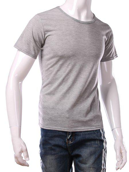 Simple Round Neck Solid Color Short Sleeves Men's Fitted T-Shirt - LIGHT GRAY L
