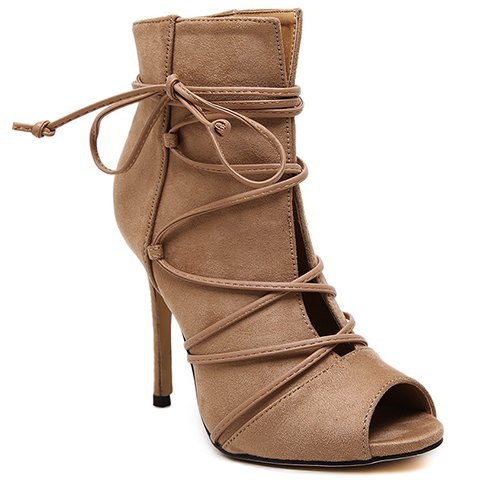 Trendy Lace-Up and Peep Toe Design Pumps For Women - KHAKI 40