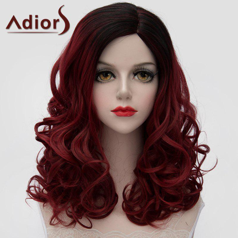 Lolita Shaggy Wave Synthetic Black Ombre Wine Red Gorgeous Medium Women's Wig - OMBRE