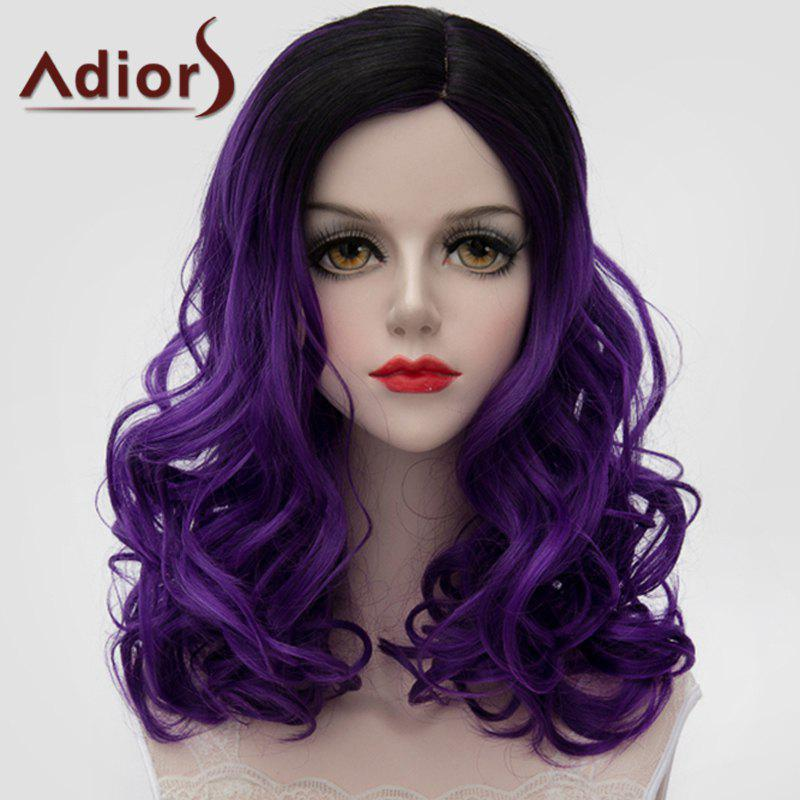 Fluffy Wavy Attractive Black Ombre Dark Purple Lolita Medium Women's Synthetic Wig - BLACK/PURPLE
