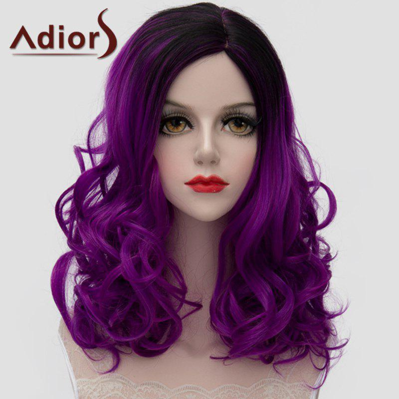 Lolita Fluffy Wavy Synthetic Stunning Medium Black Purple Gradient Universal Wig For Women