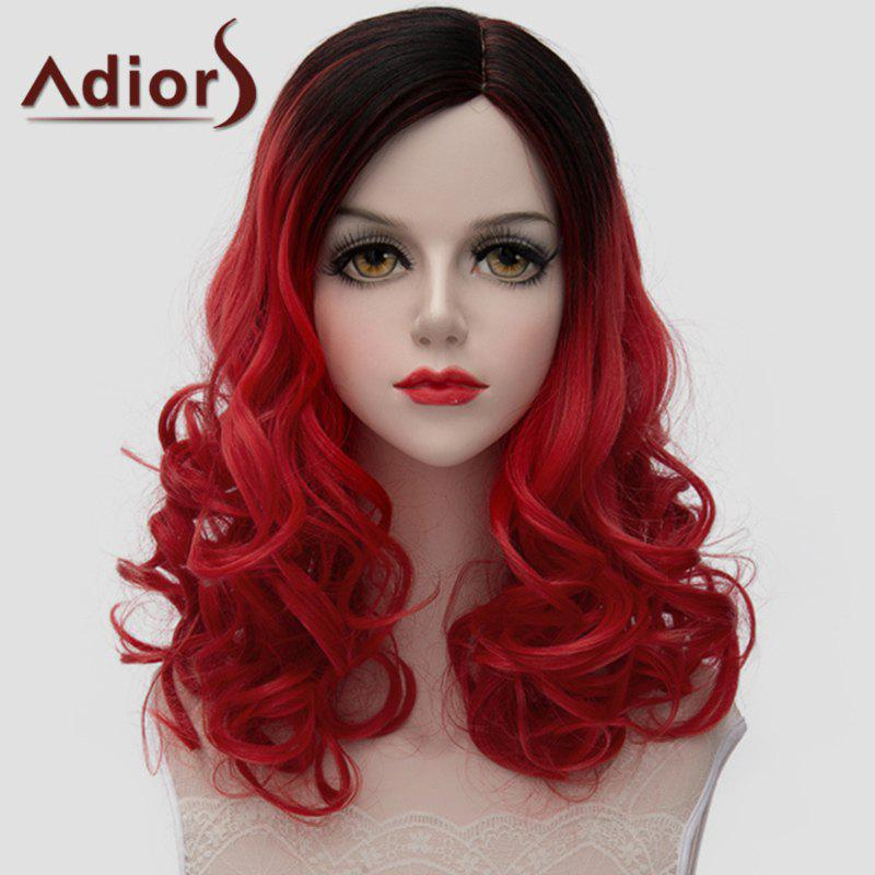Charming Medium Synthetic Lolita Black Red Gradient Shaggy Wave Women's Wig - RED/BLACK