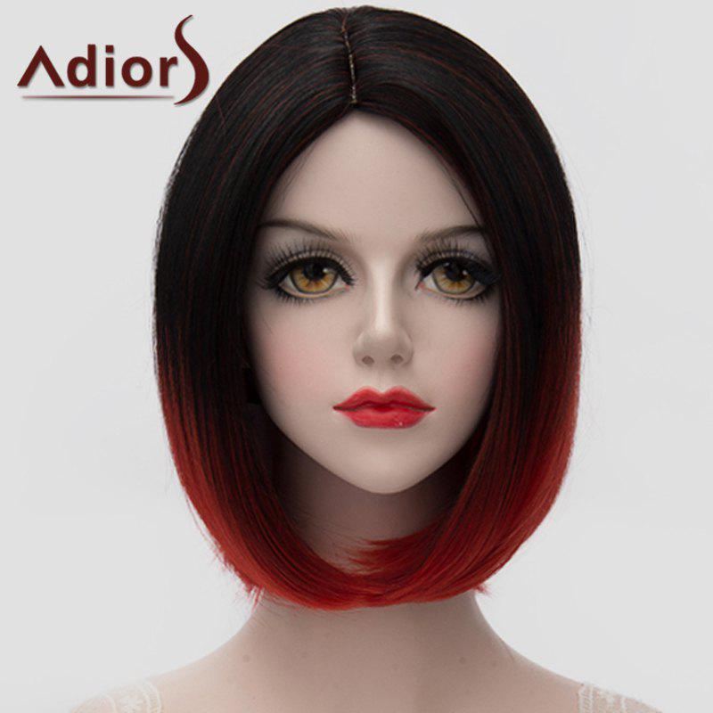 Bob Style Straight Synthetic Stunning Black Red Gradient Short Universal Wig For Women - OMBRE 2
