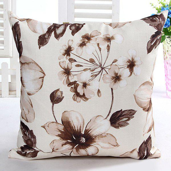 High Quality Floral Pattern Square Shape Pillow Case(Without Pillow Inner) - CAMEL