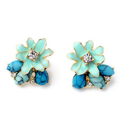 Pair of Natural Stone Flower Shape Decorated Stud Earrings - AZURE