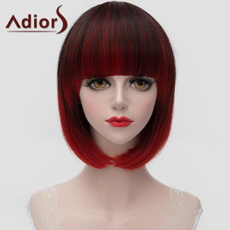 Fashion Short Full Bang Straight Tail Adduction Black Ombre Red Women's Synthetic Wig