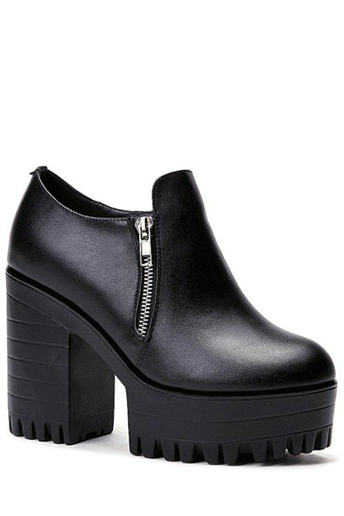 Casual Double Zippers and Chunky Heel Design Pumps For Women - BLACK 38