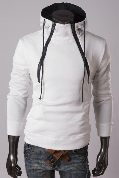 Cool Double Inclined Zipper Front Pocket Hooded Long Sleeves Men's Fashion Hoodie - WHITE XL