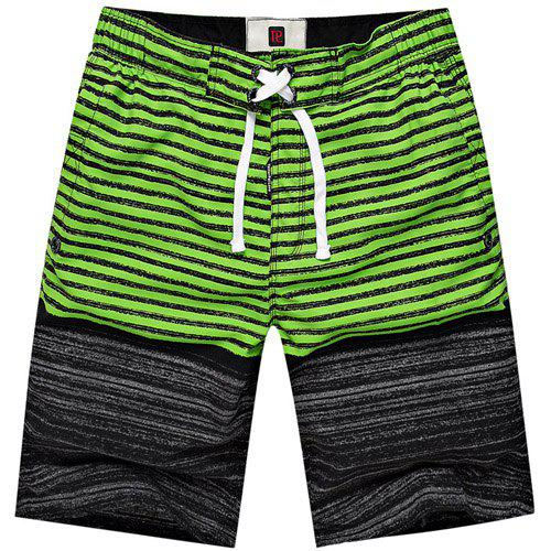 Straight Leg Hit Color Splicing Striped Drawstring Men's Board Shorts - GREEN XL