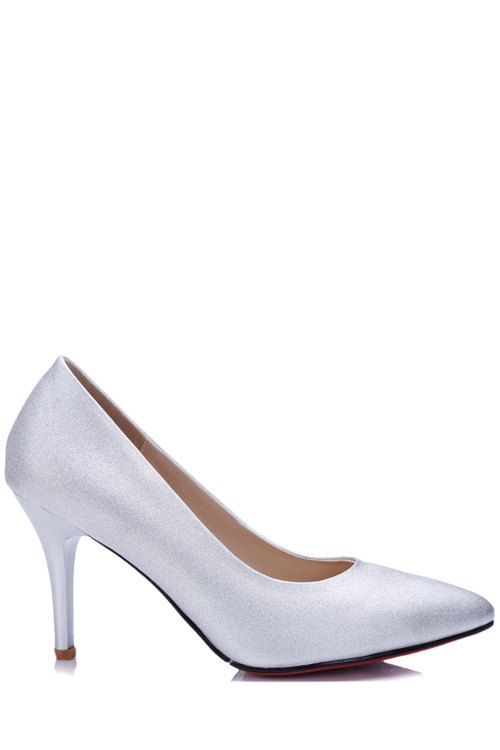 Elegant Stiletto Heel and Pointed Toe Design Pumps For Women - SILVER WHITE 39