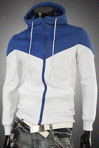 Stylish Hooded Color Splicing Front Pocket Men's Long Sleeves Hoodie - BLUE M
