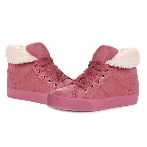 Ankle Boots with Fur Lined - PINK 39