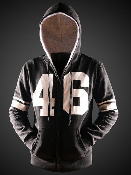 Color Block Number Print Front Pocket Hooded Long Sleeves Men's Hoodie - BLACK 2XL