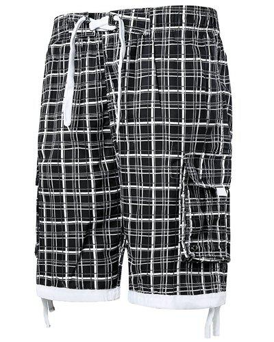 Straight Leg Stereo Pocket Plaid Print Drawstring Men's Board Shorts - BLACK M