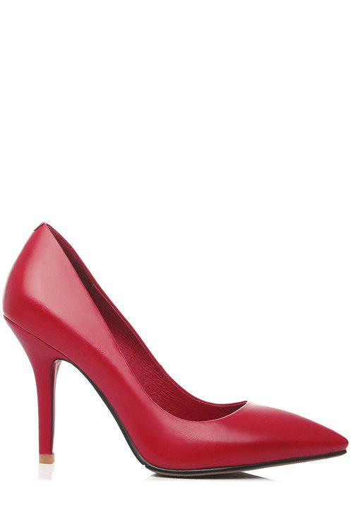 Office Lady Solid Color and Pointed Toe Design Pumps For Women - RED 39