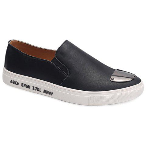 Fashion PU Leather and Metal Design Casual Shoes For Men - BLACK 40