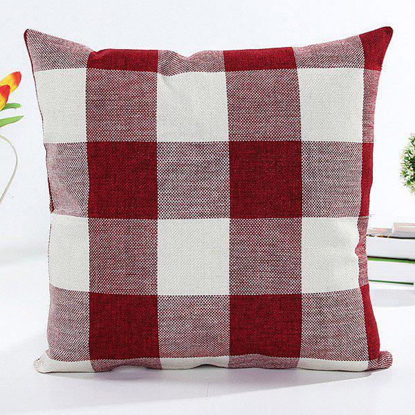 High Quality Colorful Plaid Pattern Square Shape Flax Pillow Case(Without Pillow Inner)