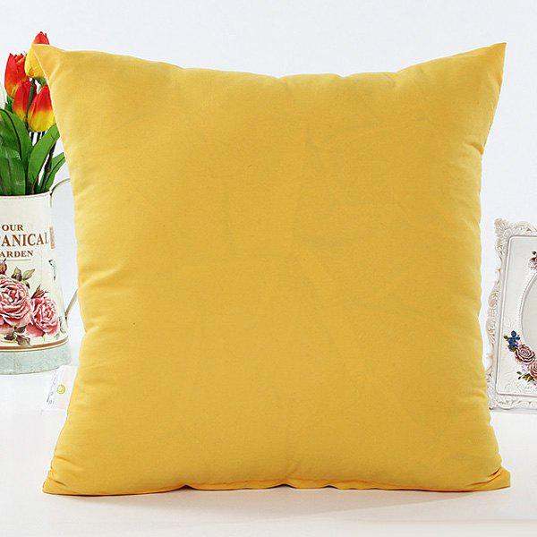 High Quality Solid Color Square Shape Polyester Pillow Case(Without Pillow Inner) - YELLOW