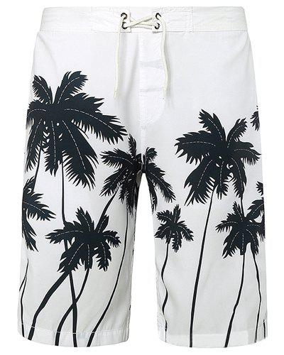 Straight Leg Coconut Palm Print Drawstring Men's Board Shorts - WHITE M