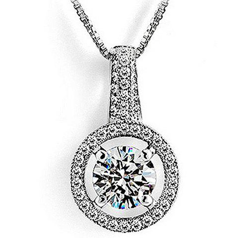 Round Rhinestoned Pendant Necklace - SILVER