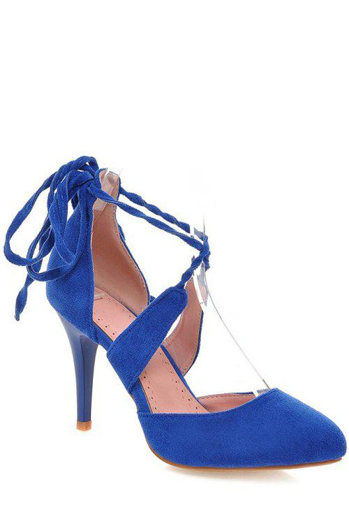 Sexy Pointed Toe and Cross-Strap Design Pumps For Women - BLUE 39