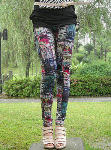Stylish Elastic Waist Slimming Printed Women's Ninth Leggings - BLUE ONE SIZE(FIT SIZE XS TO M)