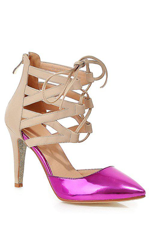 Stylish Lace-Up and Color Block Design Pumps For Women - PEACH RED 38
